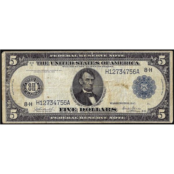 1914 $5 Federal Reserve Note St. Louis