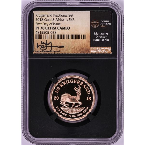 2018 South Africa Proof 1/2 Krugerrand Gold Coin NGC PF70 Ultra Cameo FDOI Signed