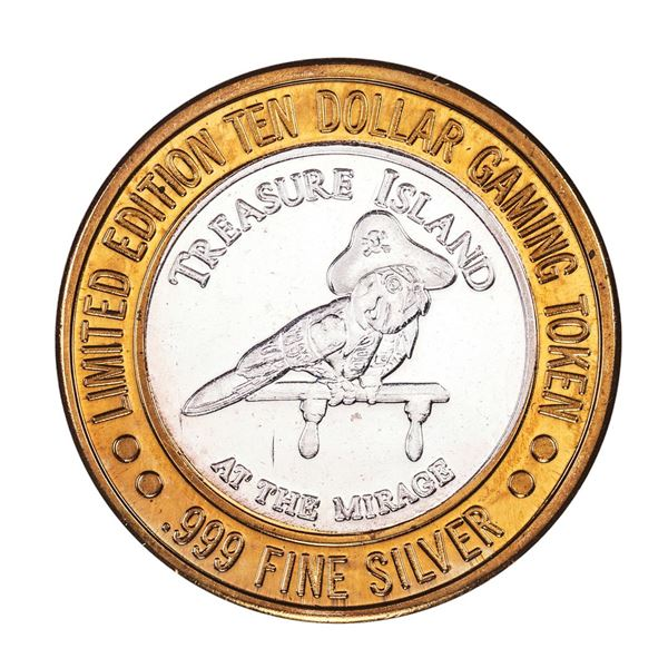 .999 Fine Silver Treasure Island Las Vegas, Nevada $10 Limited Edition Gaming Token