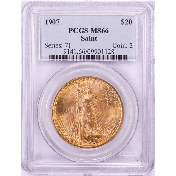 1907 $20 St. Gaudens Double Eagle Gold Coin PCGS MS66