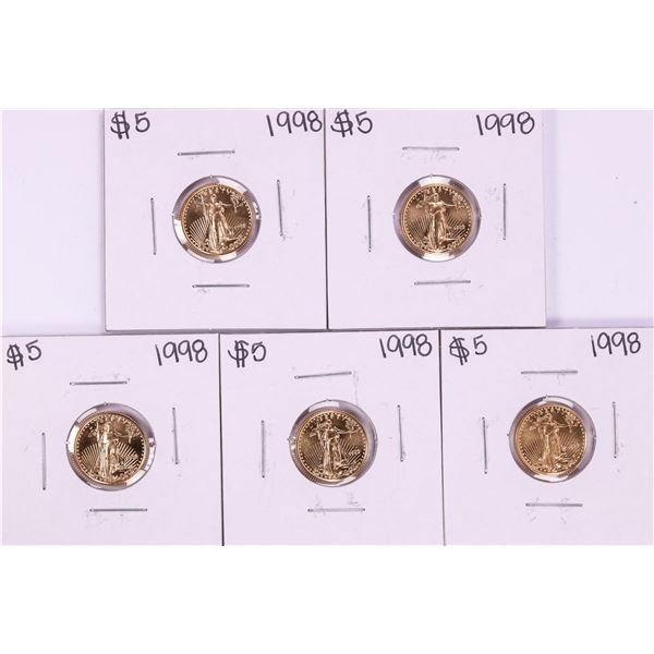 Lot of (5) 1998 $5 American Gold Eagle Coins