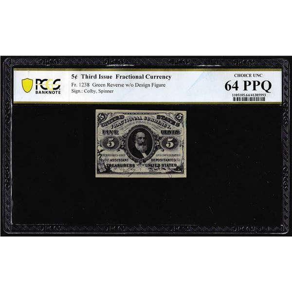 1863 Third Issue Five Cents Fractional Note Fr.1238 PCGS Choice Uncirculated 64PPQ