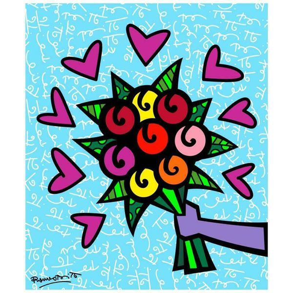 """Romero Britto """"Thank You"""" Limited Edition Giclee On Canvas"""