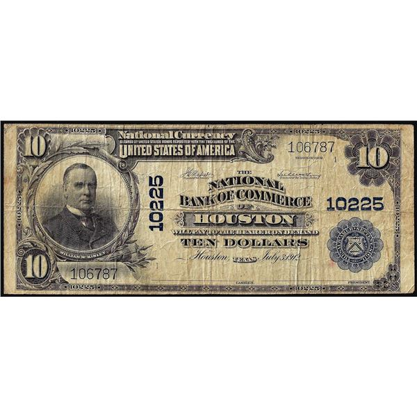 1902PB $10 National Bank of Commerce of Houston, TX CH# 10225 National Currency Note