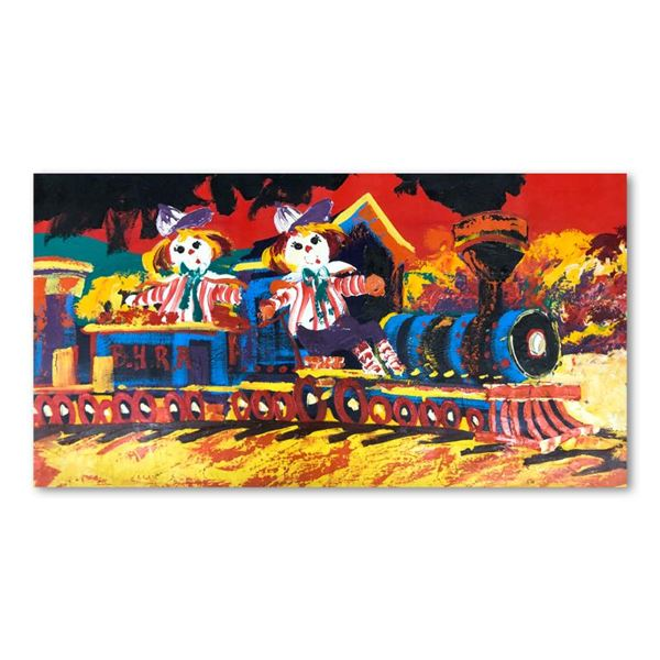 "Henrie (1932-1999) ""Choo-Choo Children"" Original Oil On Canvas"