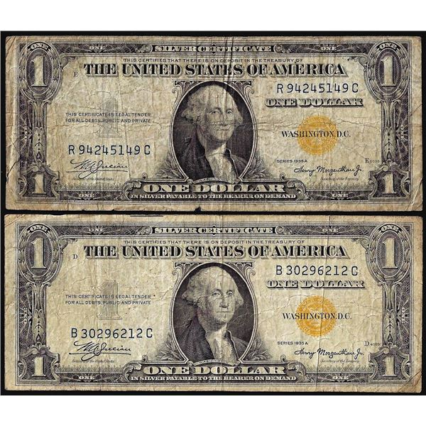 Lot of (2) 1935A $1 North Africa WWII Emergency Issue Silver Certificate Notes