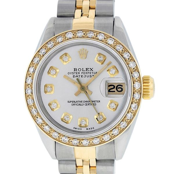 Rolex Ladies Two Tone Silver Diamond Datejust Oyster Perpetual Wristwatch