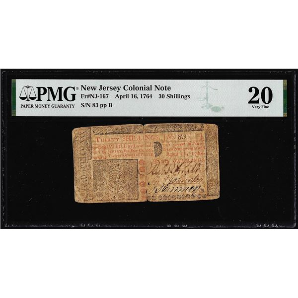 April 16, 1764 New Jersey 30 Shilling Colonial Currency Note NJ-167 PMG Very Fine 20