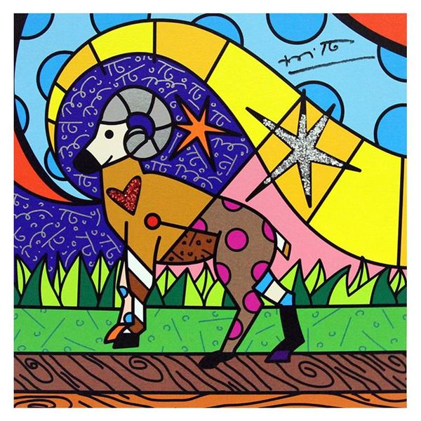 """Romero Britto """"Aries"""" Limited Edition Giclee On Canvas"""