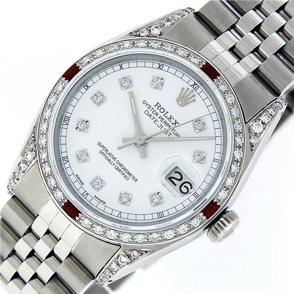 Rolex Men's Stainless Steel Diamond Lugs & Ruby Datejust Wristwatch