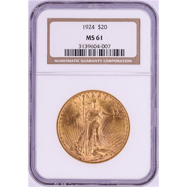 1924 $20 St. Gaudens Double Eagle Gold Coin NGC MS61