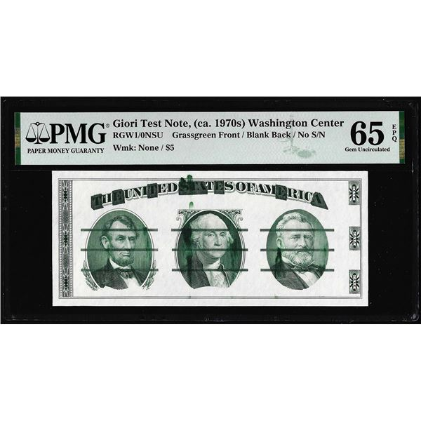 Circa 1970's Washington Center Giori Test Note PMG Gem Uncirculated 65EPQ