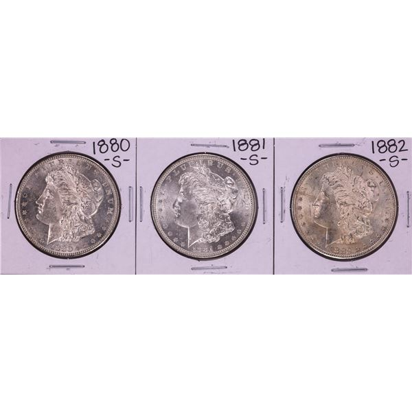 Lot of 1880-S to 1882-S $1 Morgan Silver Dollar Coins