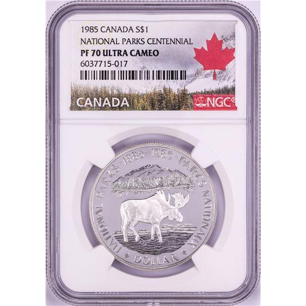 1985 $1 Proof Canada National Parks Centennial Silver Dollar Coin NGC PF70 Ultra Cameo