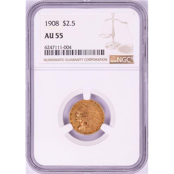 1908 $2 1/2 Indian Head Quarter Eagle Gold Coin NGC AU55
