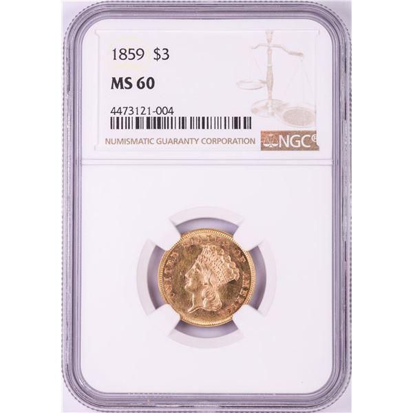 1859 $3 Indian Princess Head Gold Coin NGC MS60