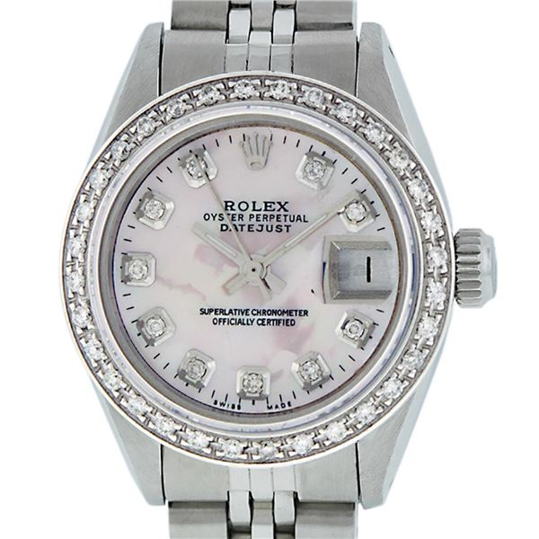 Rolex Ladies Stainless Steel Pink MOP Diamond Oyster Perpetual Datejust