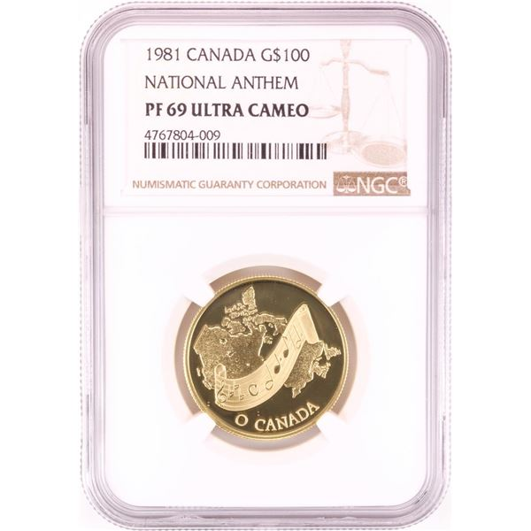 1981 Proof Canada $100 National Anthem 1/2 oz Gold Coin NGC PF 69 Ultra Cameo