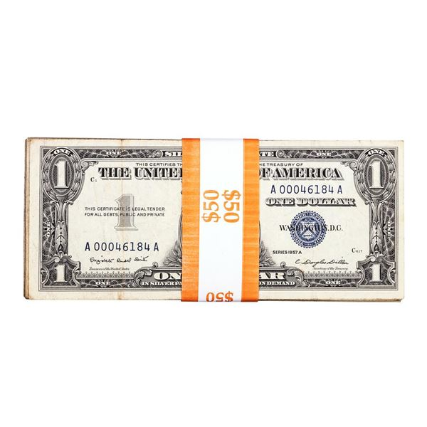 Lot of (50) 1957 $1 Silver Certificate Notes