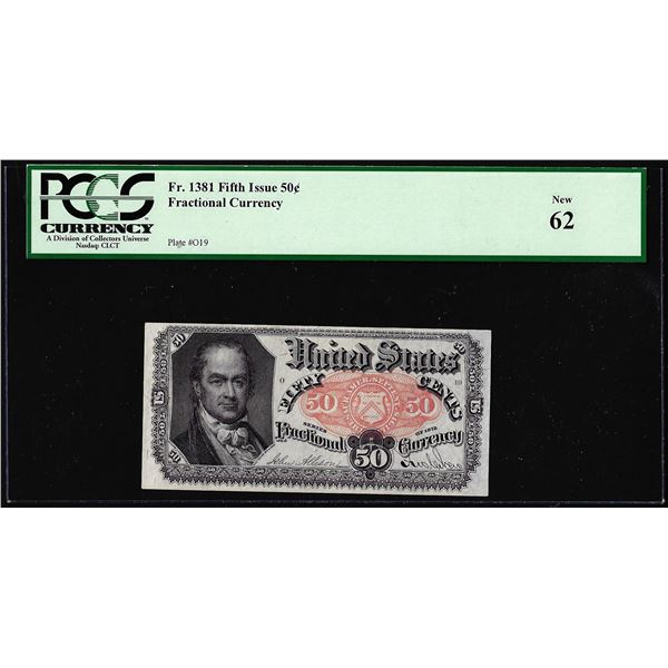 1874 Fifth Issue 50 Cent Fractional Currency Note Fr.1381 PCGS New 62