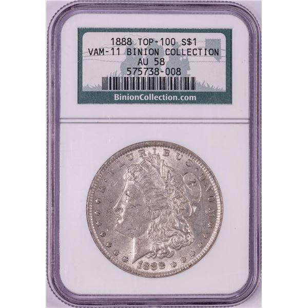 1888 VAM-11 $1 Morgan Silver Dollar Coin NGC AU58 Top 100 Binion Collection