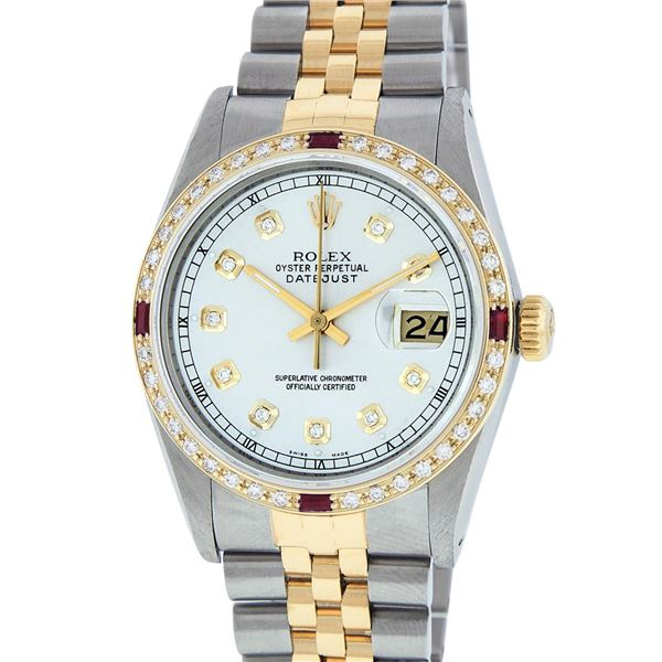 Rolex Men's Two Tone Silver Diamond & Ruby Oyster Perpetual Datejust Wristwatch