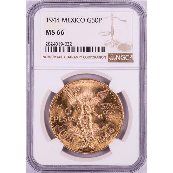 1944 Mexico 50 Pesos Gold Coin NGC MS66