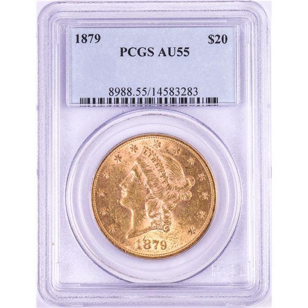 1879 $20 Liberty Head Double Eagle Gold Coin PCGS AU55