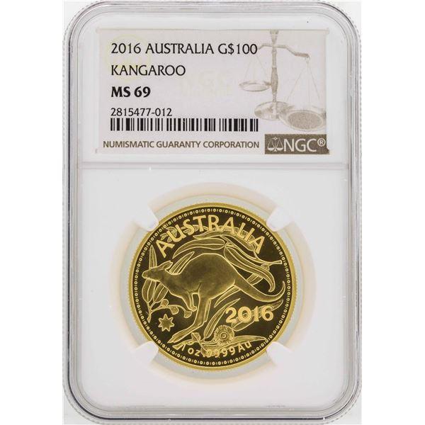 2016 Australia $100 Kangaroo Gold Coin NGC MS69