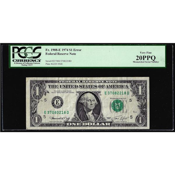 1974 $1 Federal Reserve Note Mismatched Serial Number ERROR PCGS Very Fine 20PPQ