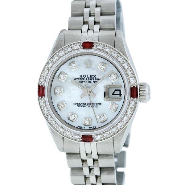 Rolex Ladies Stainless Steel MOP Diamond & Ruby Datejust Wristwatch