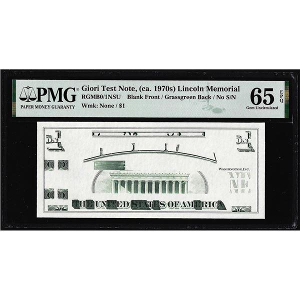 Circa 1970's Lincoln Memorial Giori Test Note PMG Gem Uncirculated 65EPQ