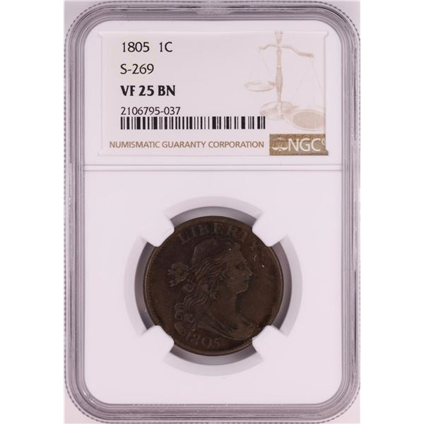 1805 S-269 Draped Bust Large Cent Coin NGC VF25 BN