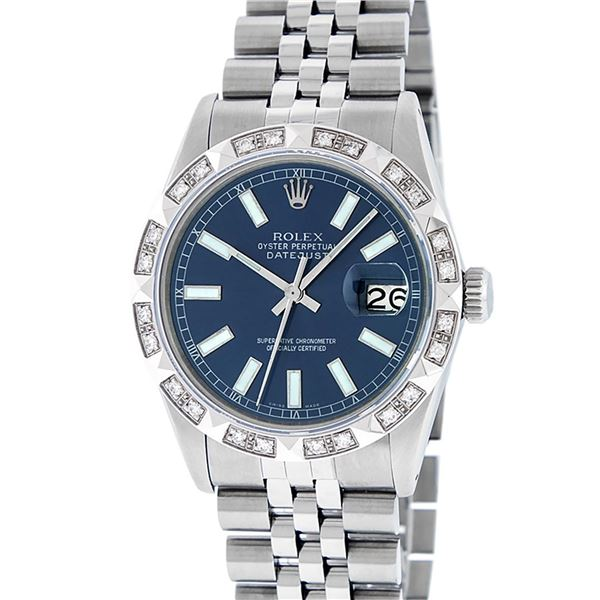 Rolex Stainless Steel Blue Index Diamond Oyster Perpetual Datejust Wristwatch