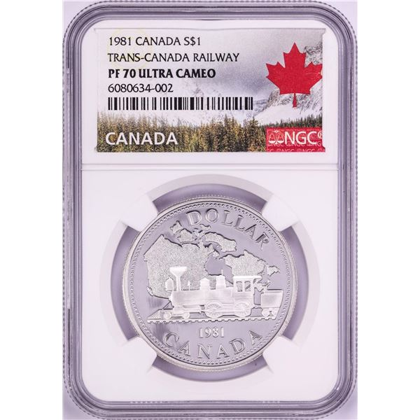 1981 $1 Proof Trans-Canada Railway Silver Dollar Coin NGC PF 70 Ultra Cameo