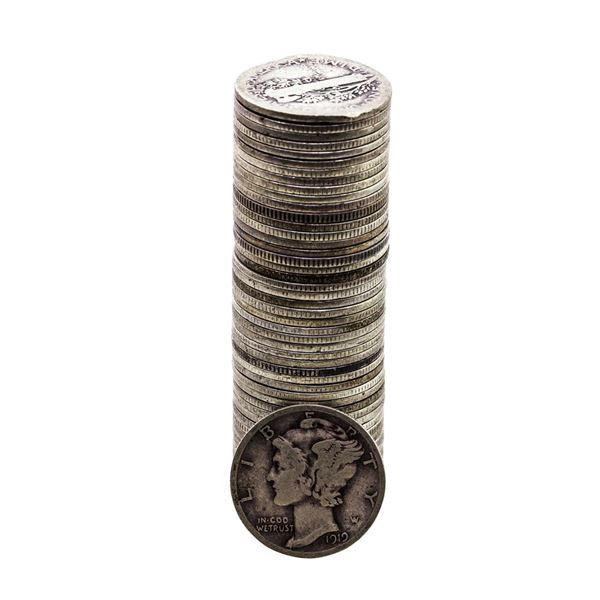 Roll of (50) 1916-1919 Mercury Dime Coins