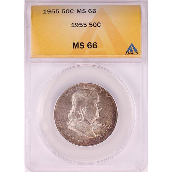 1955 Franklin Half Dollar Coin ANACS MS66