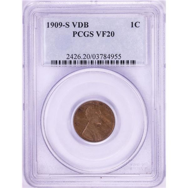 1909-S VDB Lincoln Wheat Cent Coin PCGS VF20