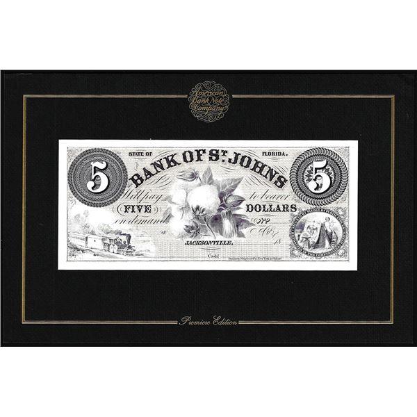 1994 American Bank Note Company Intaglio Print Bank of St. Johns Jacksonville, FL