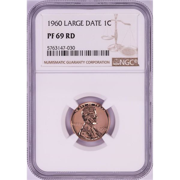 1960 Large Date Proof Lincoln Memorial Cent Coin NGC PF69RD