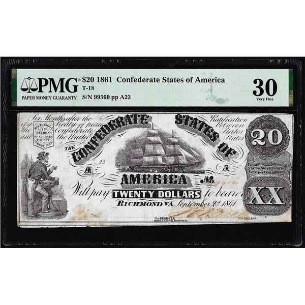 1861 $20 Confederate States of America Note T-18 PMG Very Fine 30