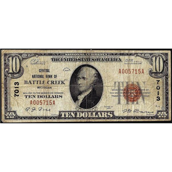 1929 $10 Central NB of Battle Creek, Michigan CH# 7013 National Currency Note