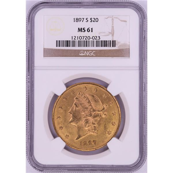 1897-S $20 Liberty Head Double Eagle Gold Coin NGC MS61