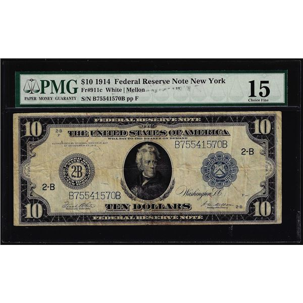 1914 $10 Federal Reserve Note New York Fr.911c PMG Choice Fine 15