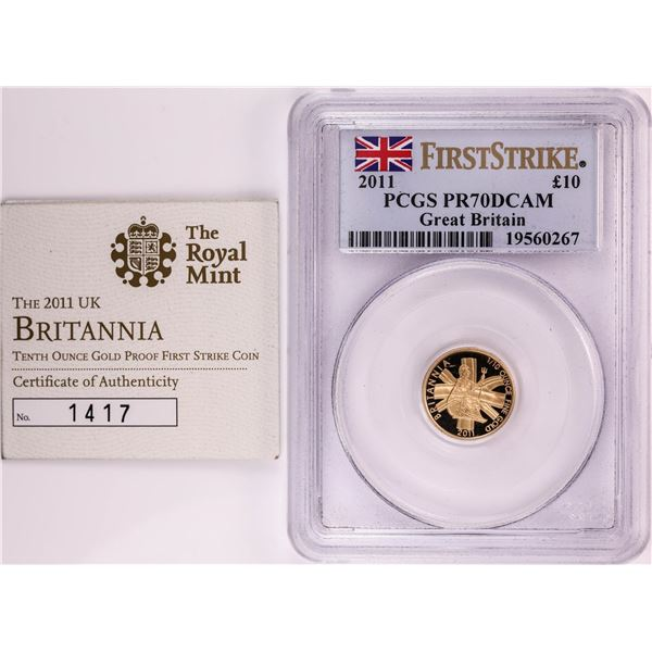 2011 Great Britain 10 Pounds Proof 1/10 oz Gold Coin PCGS PR70DCAM