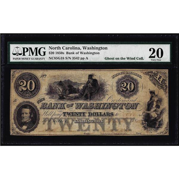 1850's $20 Bank of Washington North Carolina Obsolete Note PMG Very Fine 20