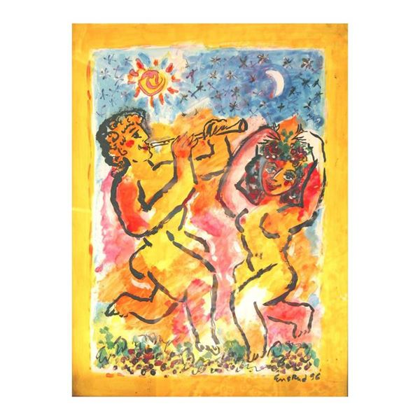 """Ensrud """"Bacchus And Maiden"""" Original Mixed Media On Board"""