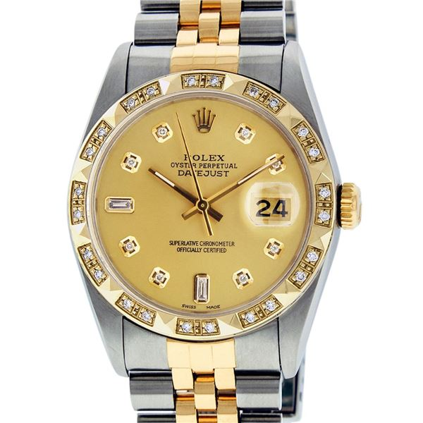 Rolex Men's Two Tone Champagne Diamond Pyramid Bezel Datejust Wristwatch