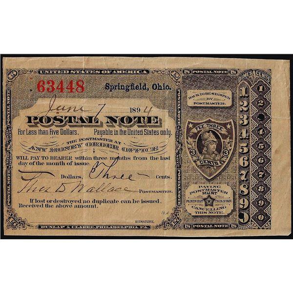 June 7, 1894 Springfield, MA Postal Obsolete Scrip Note