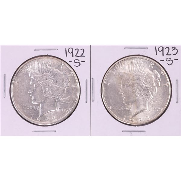 Lot of 1922-S & 1923-S $1 Peace Silver Dollar Coins